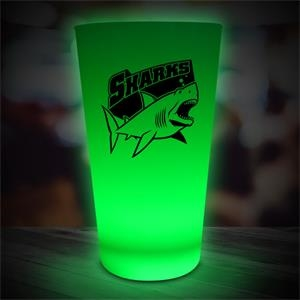 16 oz. Pint Glass w/ Neon-Look Green LED Lights