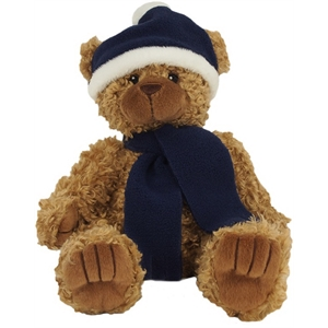 8 bear with navy blue winter hat and scarf brilliant. Black Bedroom Furniture Sets. Home Design Ideas