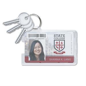 "Rigid Plastic Badge Holders with Key Ring, 3.38"" x 2.13"""