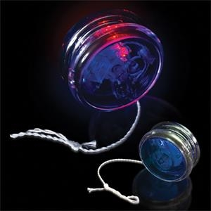 "2 3/8"" Blue & Clear Yo-Yo with Red LED Lights"