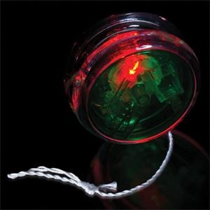 "2 3/8"" Green & Clear Yo-Yo with Red LED Lights"