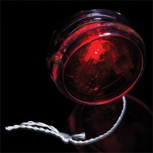 "2 3/8"" Red & Clear Yo-Yo with Red LED Lights"