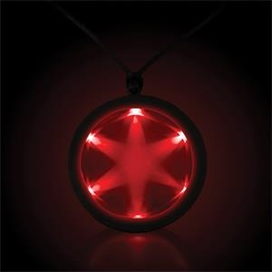"Red 2 1/4"" Fusion LED Glow Light Up Badge with Necklace"