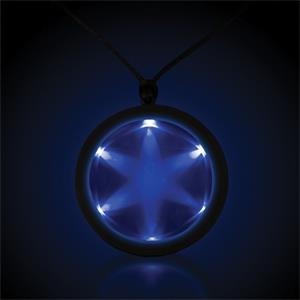 "Blue 2 1/4"" Fusion Light Up LED Glow Badge with Necklace"