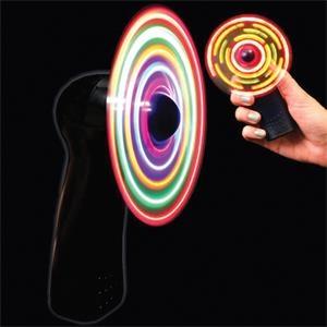 Black Handheld MultiColor LED Light Up Glow Fan