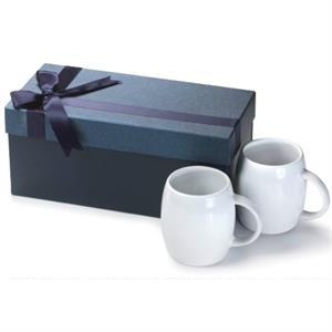 Two 14 oz White c-handle Rotunda ceramic mug Gift Set