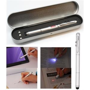Metal Ballpoint Pen w/Stylus, Laser Pointer & LED Set