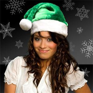 Green Plush Santa Hat (Blank)