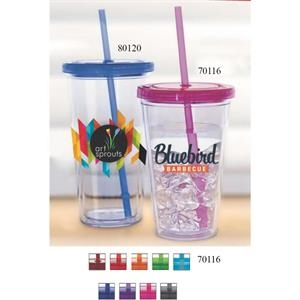Carnival Cup - Clear Straw, Color Lid