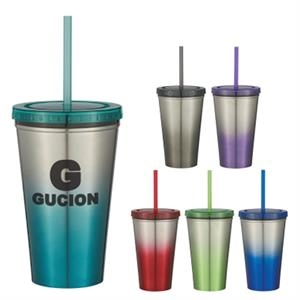 16 Oz. Stainless Steel Chroma Tumbler With Straw