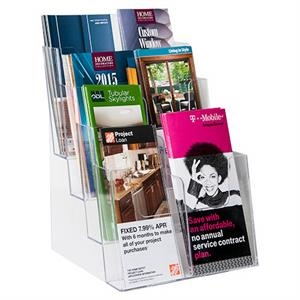 """4-Tier Acrylic Brochure Holder for 8.5\"""" or 4\"""" Literature"""