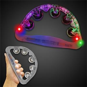 "Clear 9"" Light Up Glow Tambourine"