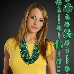 Green Shamrock Beaded Necklace