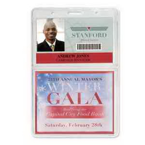 "Economy Vertical 2-Pocket Event Badge Holders, 3.75"" x 1.88"""