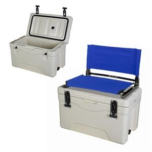 Fishing cooler with seat