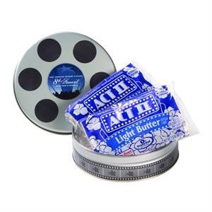 Small Film Reel Tin / 2 Microwave Popcorn Bags