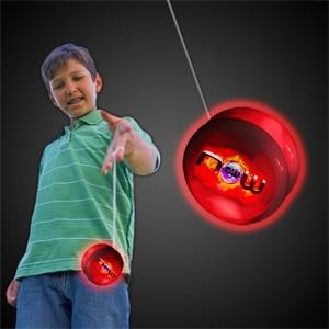 "2"" White Plastic Light Up YoYo with Red Glow LEDs"