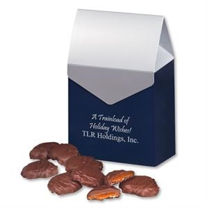 Pecan Turtles in Navy & Silver Gable Top Gift Box