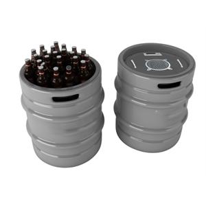 Keg shaped cooler with bluetooth speaker