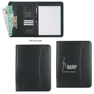 "Leather Look 8 1/2"" x 11\"" Zippered Portfolio With Calculator"