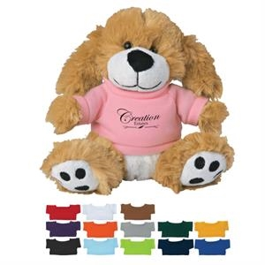 "6\"" Plush Big Paw Dog With Shirt"