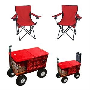 Rolling cooler with rugged wheels and two camping chairs