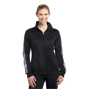 Sport-Tek Ladies Dot Sublimation Tricot Track Jacket.