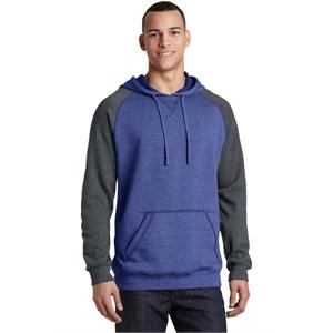District Young Mens Lightweight Fleece Raglan Hoodie.