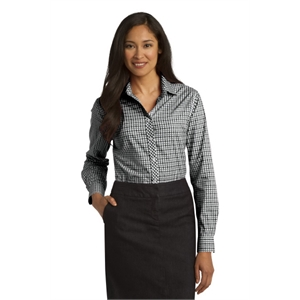 Port Authority Ladies Long Sleeve Gingham Easy Care Shirt.