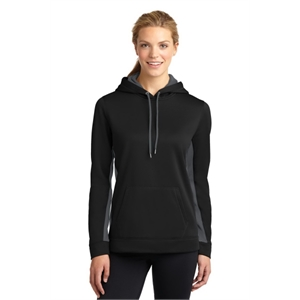Sport-Tek Ladies Sport-Wick Fleece Colorblock Hooded Pull...