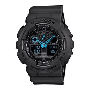 Casio G-Shock Analog Digital Gray and Neon Blue Watch