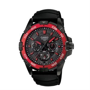 Casio Mens Multi Dial Analog Watch Black/Red