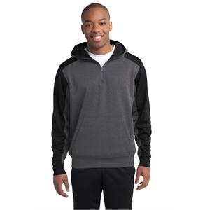 Sport-Tek Tech Fleece Colorblock 1/4-Zip Hooded Sweatshirt.