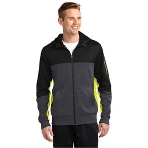Sport-Tek Tech Fleece Colorblock Full-Zip Hooded Jacket.