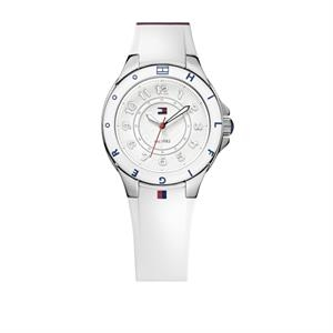 TOMMY HILFIGER Ladies Plastic Case Silicone Strap White Dial