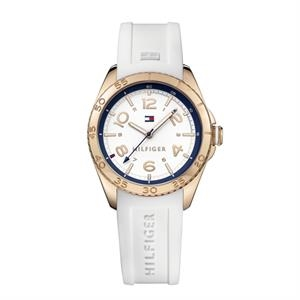 TOMMY HILFIGER Ladies Rose Gold IP Steel Case Silicone Strap
