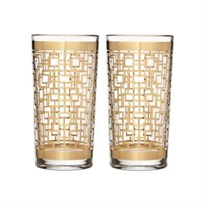 Mixology Mad Men Edition Holloway Gold Patterned HiBall Pair
