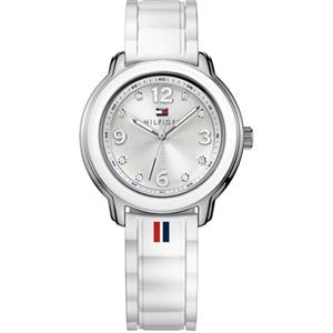 TOMMY HILFIGER Ladies. 36mm SS Case. White Silicone Strap