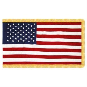3' x 5' Cotton U.S. Flag w/ Pole Sleeve & Fringe - Imported