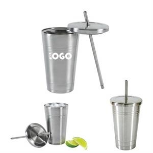 16 Oz. Stainless Steel Cold/Hot Cup Tumbler With Straw