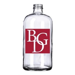 Glass, Clear 32 oz Boston RoundGrowler/Jug (lids sold sep.)