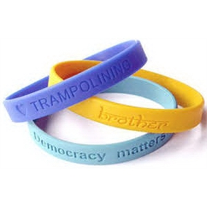 """Debossed 1/2"""" Inch Custom Silicone Wristbands"""