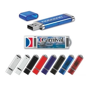 Slim Plastic USB Flash Drives w/ chrome accents and keyloop