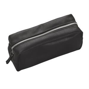 Faux Leather Zippered Amenity Bag
