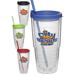 24 oz. Double Wall Solid Clear Orbit Acrylic Tumblers
