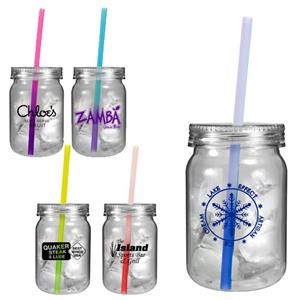 24 oz. Plastic Mason Jar with Mood Straw