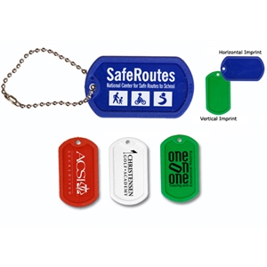 """Plastic Dog Tag with 4 1/2\"""" Ball Chain- Closeout"""
