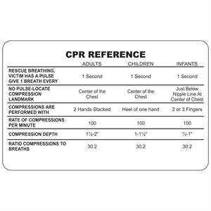Plastic Wallet Card w/ CPR Reference Card (10 Mil)