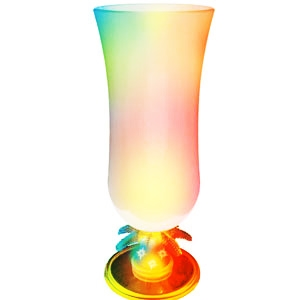 Light Up Glass - Hurricane - Palm Stem - Frosted - Multi LED