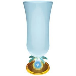 Light Up Glass - Hurricane - Palm Stem - Frosted - Blue LED